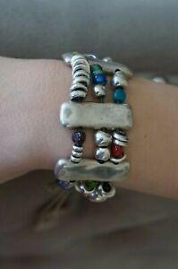 """NWT Uno De 50 Silver ATLANTIS Colorful Murano Glass Cuff Wrap Bracelet 7"""""""
