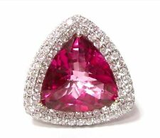 11.30TCW Trillion Pink Topaz & Diamonds Cocktail Ring Size 6.5 18k White Gold
