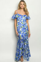 Blue Floral Cold Shoulder Maxi Dress Gown Size Large Mermaid Cut