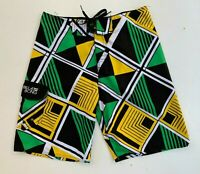 BILLABONG men's green yellow board surf beach shorts size 32
