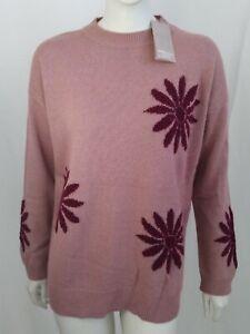 Maglione donna Lana Cashmere pullover inverno rosa antico Tg L fiori viola rosso