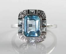 LARGE 9k 9CT WHITE GOLD AQUAMARINE DIAMOND ART DECO INS RING FREE RESIZE