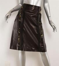 Prada Cuero Negro Seda Floral Jacquard Costuras Detalle Falda en a 8-44  Nuevo f09d743c7668