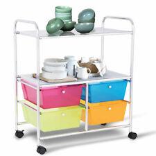 4 Drawers Multifunctional Rolling Storage Cart Utility Rack on Wheels Office