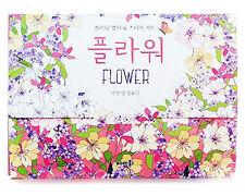 Flower Illustrated Dessain Tolra Anti Stress Adult Coloring Book Postcards Set