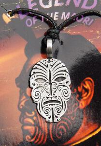Halskette Anhänger Maori Face Tribal Ethno Zinn Schutz -CA1-6736