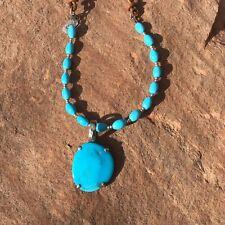 Peyote Bird Designs Sky Blue Natural Turquoise Pendant Beads Adjustable Necklace