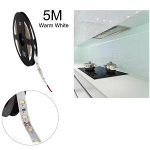 5M Waterproof 12V LED Strip Tape Cabinet Kitchen TV PC Warm White Light 8mm