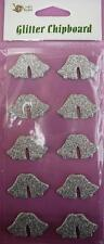 2 Get 1 Free 10 Silver Glitter Chipboard Wedding Bells Stickers