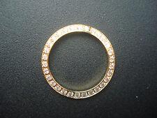 YELLOW GOLDEN BEZEL WITH CZ RHINESTONES FOR LADIES 26MM OLD ROLEX DATEJUST WATCH
