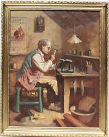 Vintage oil painting on canvas depicting a cobbler, Signed, Framed