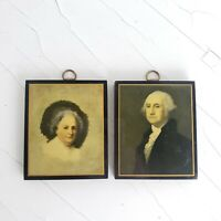 Antique Small George & Martha Washington Gilbert Stuart Portraits On Wood Frames