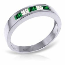 Genuine Emeralds & White Topaz Gemstones Band Ring 14K. Yellow, white, Rose Gold