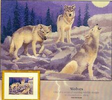 """Heritage Crafts Power & Grace Counted Cross Stitch Kit """"Wolves"""" on Aida"""