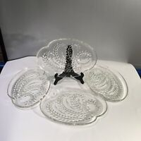 SNACK PLATES Federal Glass Homestead HospitalityWheat Pattern - 4 Plates Only