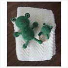 Handmade Crocheted Baby Blanket Gift Set Wood Frog Teether Toy & Plush Frog