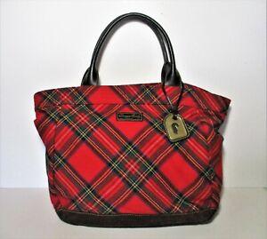 Dooney & Bourke Tartan Plaid Tote Purse Bag red green yellow white black plaid