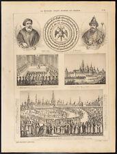1860 Gravure histoire : Russie. Moscou, Vue du Kremlin, Portraits ...