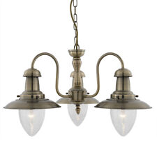 Searchlight 3 Light Antique Brass Fisherman Seeded Glass Ceiling Fitting Light