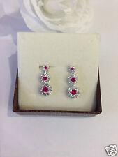 Orecchini pendenti argento 925% anallergico donna forma fiori con zirconi rossi