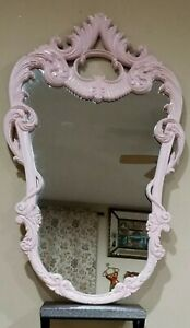 """LARGE French Ornate Baroque Pink Painted Resin Oval Wall Mirror - 48.5"""" X 30.5"""""""