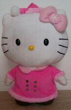 "HELLO KITTY Rare 21"" Standing Weighted Plush Pink Winter Outfit 2013 Sanrio"