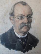 Hochwertige, seltene, COLORIERTE  ORIGINAL - PORTRAITZEICHNUNG, 1896 ! mit Widm.