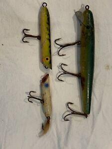 Vintage Large Injured Minnow Type Wood Fishing Lure (3)