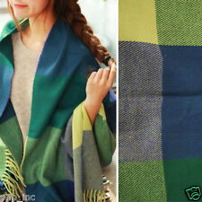 Green Women Winter Long Scarf Wrap Blanket Oversized Shawl Plaid Check Tartan OS