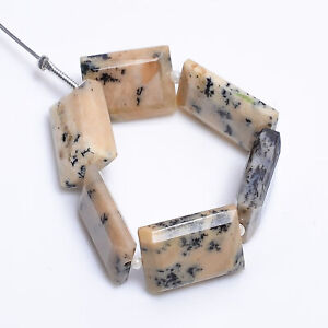 4 Beads of African Opal Flat Rectangle Beads 003273