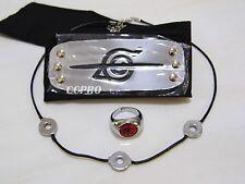 Naruto Uchiha Itachi's cosplay kit anti-leaf headband+ring+necklace 3 items/kit!
