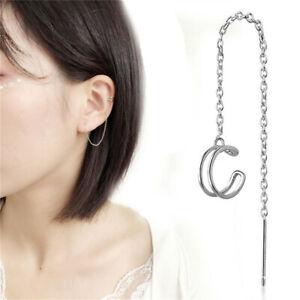 Women Silver Pleated Geometric Ear Cuff Threader Chain Line Earring Jewelry LH