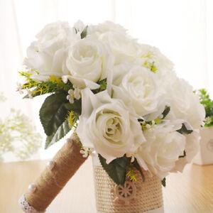 Rustic Wedding Bridal Artificial Flower Bouquet Hand Tied Flower