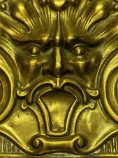 Antique Mythology Gorgon Ghotic Medusa Repousse Brass Furniture Mount Plaque