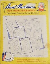 Aunt Martha's Hot Iron Transfer 3047 Baby Animal Quilt NEW