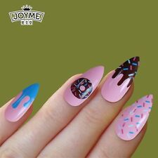 Nail Art 24pcs Long False Nails Stiletto Full Cover Tips wi/ Pattern Sweet World
