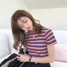 Women Hollow Out Heart Striped  T-Shirts Tee Short Sleeve Cute Summer Tops Shirt