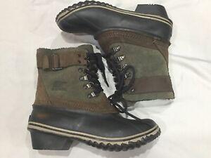 Sorel Winter Fancy Lace II NL2125-214 Green Suede Boots Womens Sz 6 Wtpf Rubber