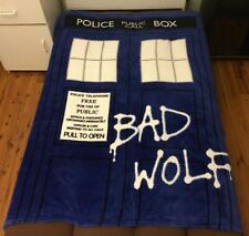 Super Soft Deluxe Faux Mink Blanket Throw 130cm x 170cm - Dr Doctor Who TARDIS
