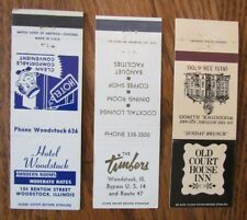 WOODSTOCK, ILLINOIS: LOT OF 3 DIFFERENT MATCHBOOK MATCHCOVERS -F