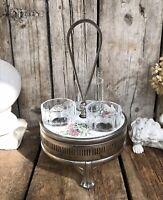 Antik Jugendstil Gewürzständer Menage Glaseinsatz Porzellan Metallmontur