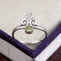 Peridot  Solid 925 Sterling Silver Ring , Handmade Ring Size - 8 R 98