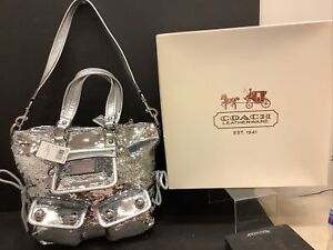 NEW WITH TAGS AND BOX Large silver coach poppy sequined spotlight purse/bag