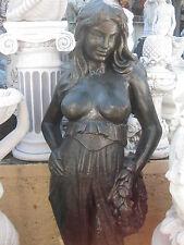 Steinfigur massiv Venus Dame Frau Statue 150 cm Statue Kranz Garten Figur kupfer