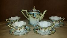 Tea Set Moriage Nippon Gold Beads Scrolls 4 cups saucers teapot Excellent Cond.