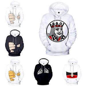 Funny Unisex 3D Printed Hoodie Poker Sweatshirt Halloween Hoodie Pullover Coat