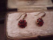 Vintage Garnet & Ruby Red Crystal  Drop Hook Pierced Earrings