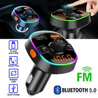Bluetooth 5.0 FM Transmitter QC3.0 Car Charger 7Color Radio Adapter Handsfree TF
