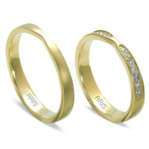 2 Gold Eheringe Trauringe Partnerringe aus 585/-14kt Gelbgold mit Diamanten