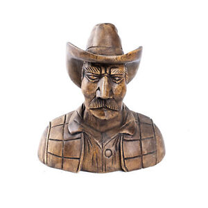 Wooden Cowboy Head Bust Hand Carved Ornament Home Decor.